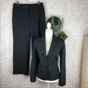 Merona Fuchsia & White Pinstriped Grey Pant Suit